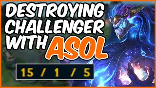 CHALLENGER AURELION SOL DESTROYS SOLO Q - League of Legends