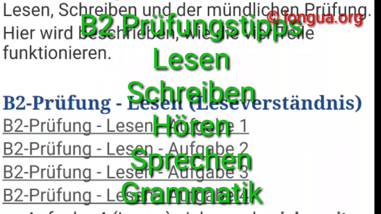 Tipps Zur B2 Prüfung Lesen Schreiben Hören Sprechen Grammatik Goethe