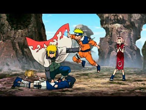 Минато останавливает бой Наруто и Саске