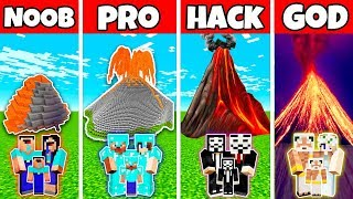 Minecraft: FAMILY VOLCANO HOUSE BASE BUILD CHALLENGE - NOOB vs PRO vs HACKER vs GOD in Minecraft