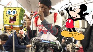 GUY SOUNDS LIKE SPONGEBOB AND MICKEY MOUSE ON MTA TRAIN NYC! (Verbal Ase)
