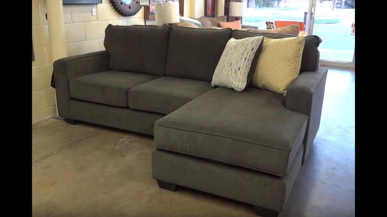 Sofa chaise egan ii cement sofa w reversible chaise living for Ashley furniture chaise lounge