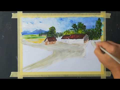 Easy Landscape  Acrylic painting in 19 minutes/Step by Step acrylic painting on canvas for beginners