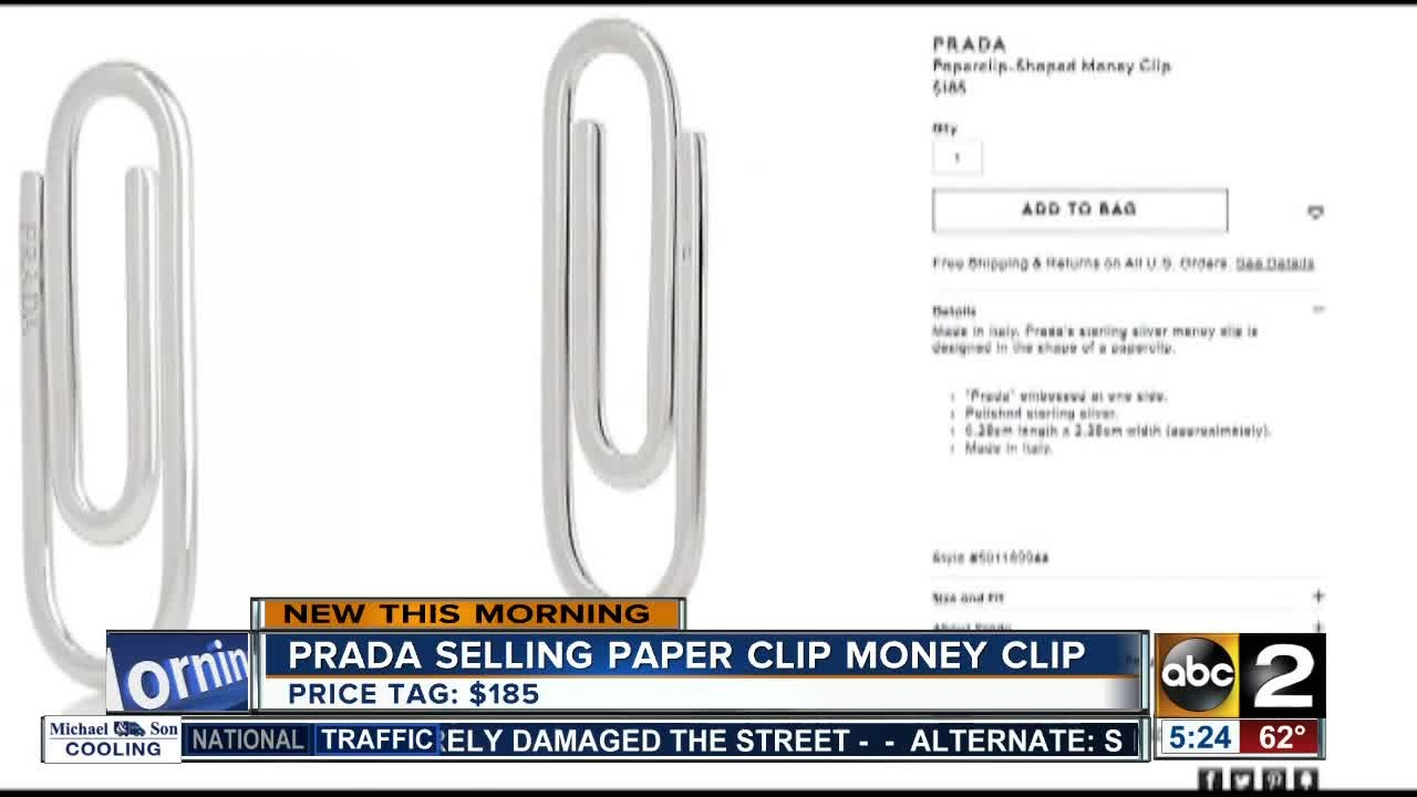 c5fa6a5d9c9115 Prada selling paper clip-shaped money clip - YouTube
