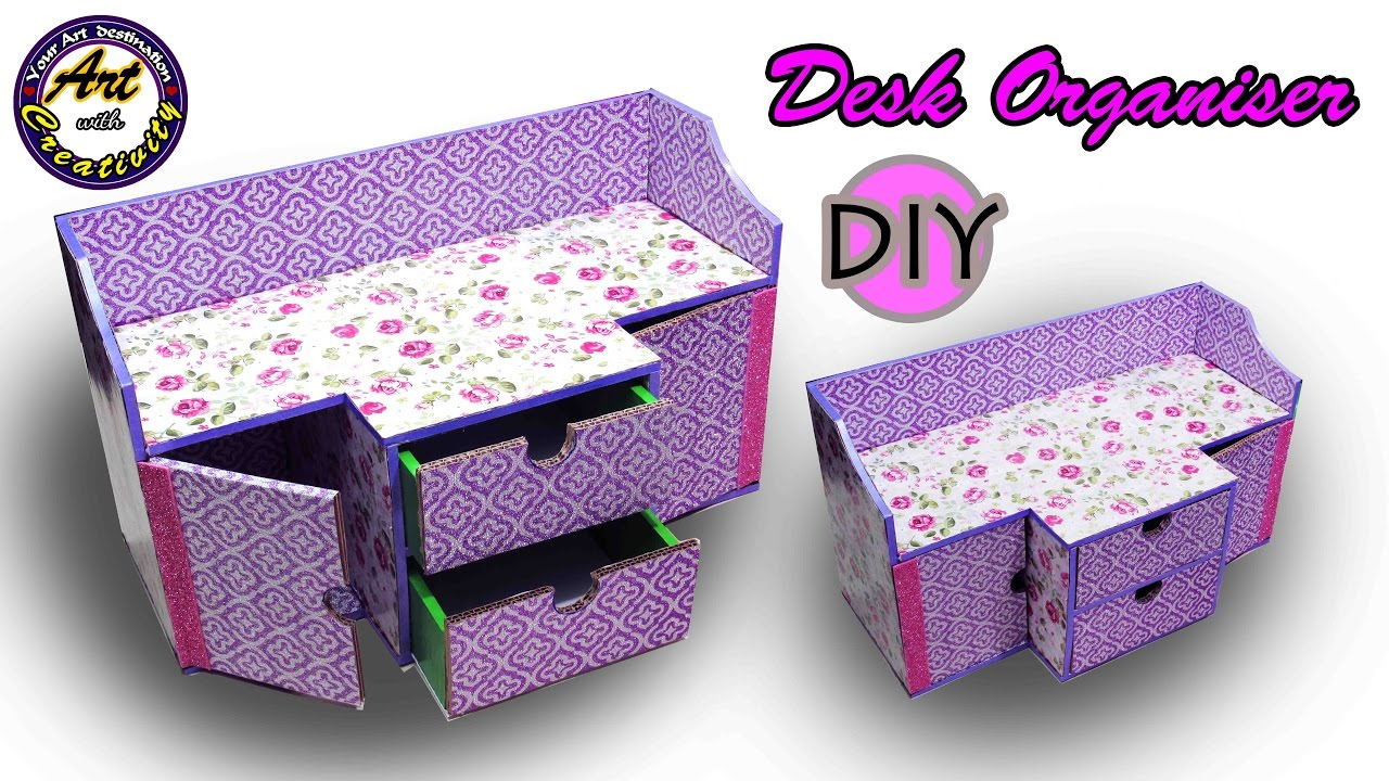 Diy Desk Organizer Drawer From Card Board Best Out Of Waste Art With Creativity 202