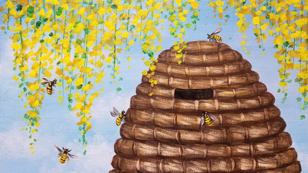 Simple Bee Painting Beehive Floral Acrylic Live Instruction Youtube