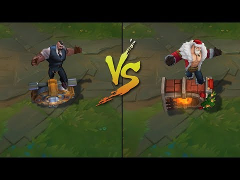 Mafia Braum vs Santa Braum Skins Comparison (League of Legends)