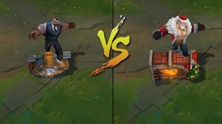Mafia Braum vs Santa Braum Skins Comparison (League of Legends)