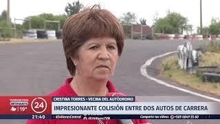 Captan impactante accidente en carrera de autos en Cabrero