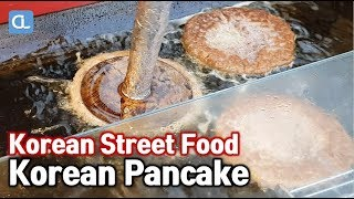 Korean pan cake / 수수호떡 / pancake stuffed with brown sugar / Korean Street Food / 동대문 길거리음식