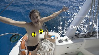 """A Shark might BITE my BUM, """"I lost my pants"""" Swimming NAKED on Laundry day - DAY17 BAREFOOT CAPTAIN"""