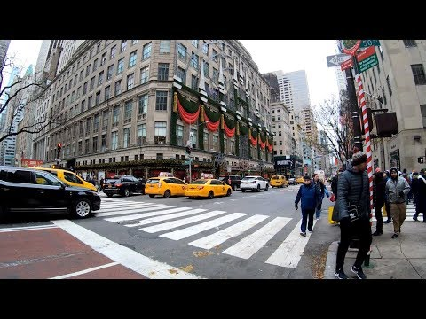 ⁴ᴷ⁶⁰ Walking Tour Of The Saks Fifth Avenue Store Holiday Windows And First Floor, NYC