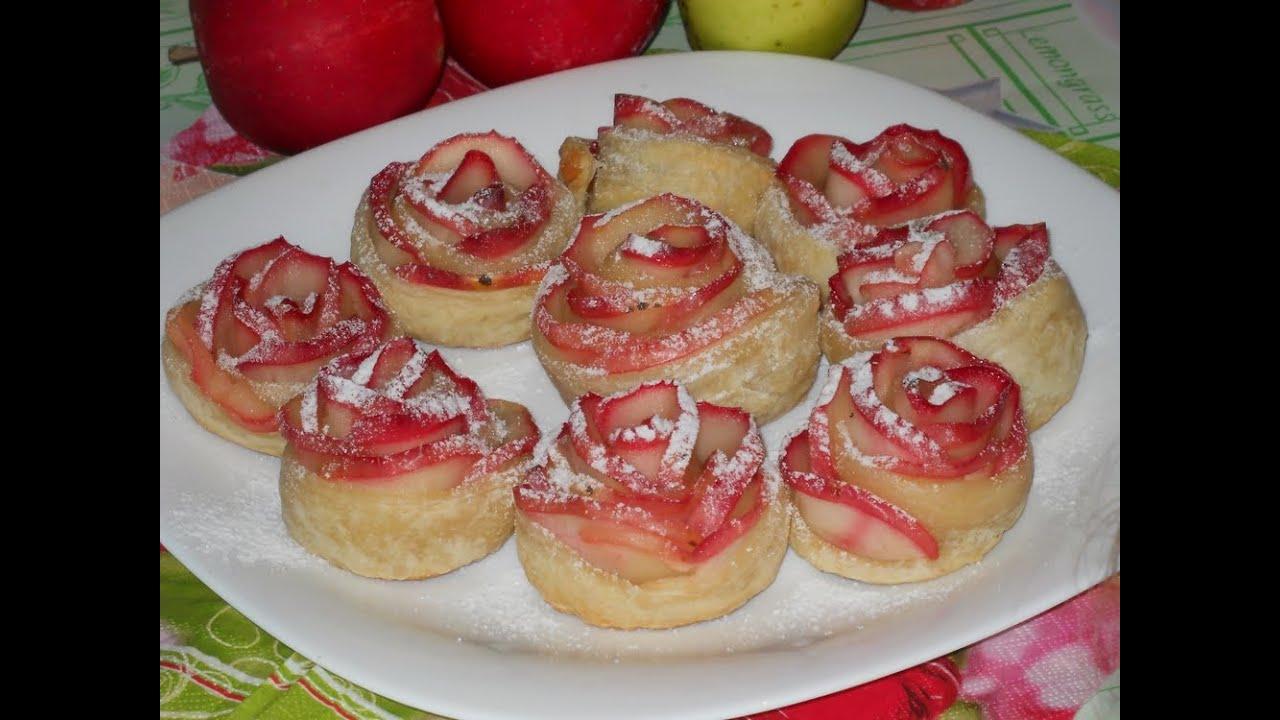 Розы из слоеного теста с яблоками рецепт пошаговый 76