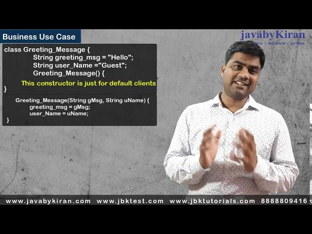 Constructor in Java - Revision Session  - java by Kiran - Kiran sir
