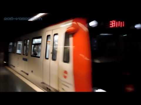 TMB 3000 series train arrives at Espanya station, Barcelona, Spain.