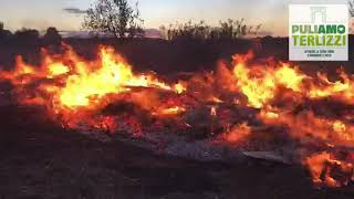 Rifiuti e pneumatici in fiamme, a fuoco un terreno sulla via di Molfetta