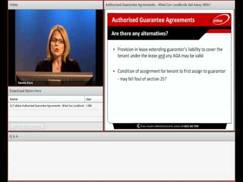 Natasha Dunn Webinar on Authorised Guarantee Agreements