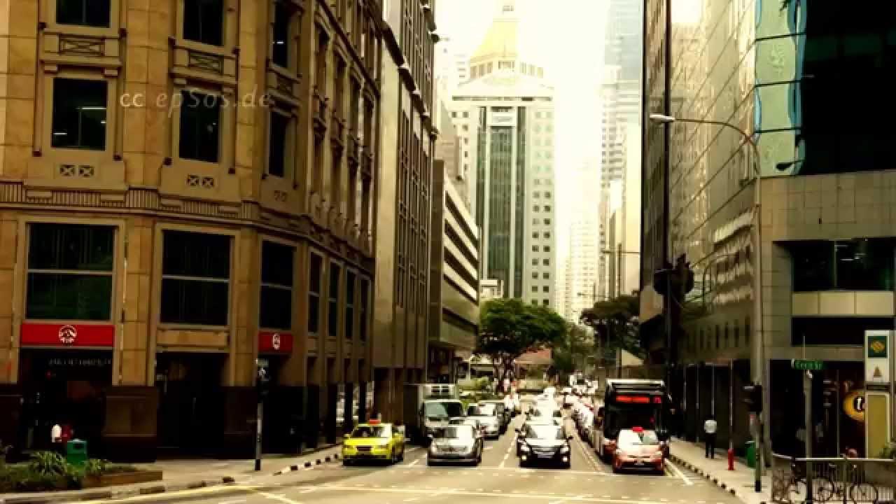 Massive Road Traffic of City Center in Singapore