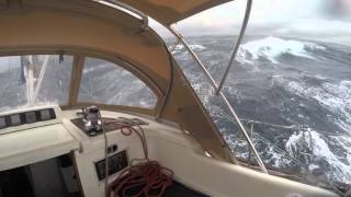 Oyster 53 Sailing Yacht Big Waves High Winds Strait of Bonifacio