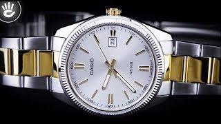 Review Đồng Hồ Casio MTP-1302SG-7AVDF chi tiết núm vặn kim loại mạ vàng, vỏ viền tạo hình viền khía
