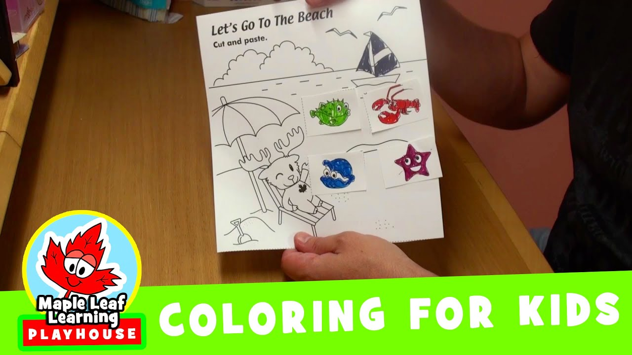 sea creatures coloring pages for kids maple leaf learning