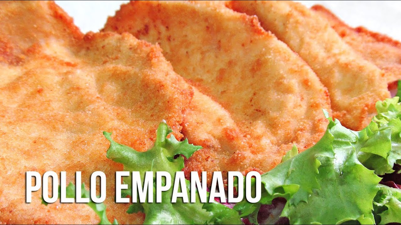 Filetes empanados de pechuga de pollo  YouTube