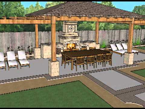 SketchUp 3D Model   Covered Outdoor Patio With Trellis