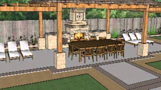 Sketchup 3d Model  - Covered Outdoor Patio With Trellis