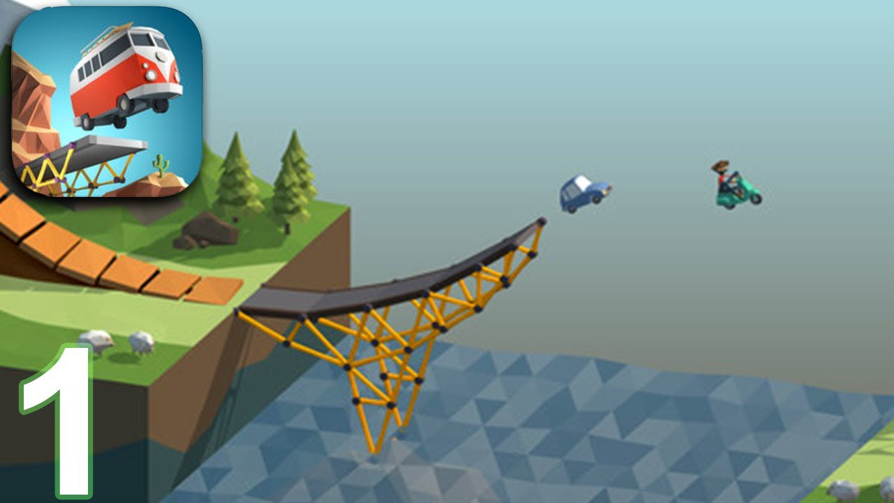 POLY BRIDGE Walkthrough Gameplay Part 1 - Alpine Meadows Levels 1-8 (iOS  Android)