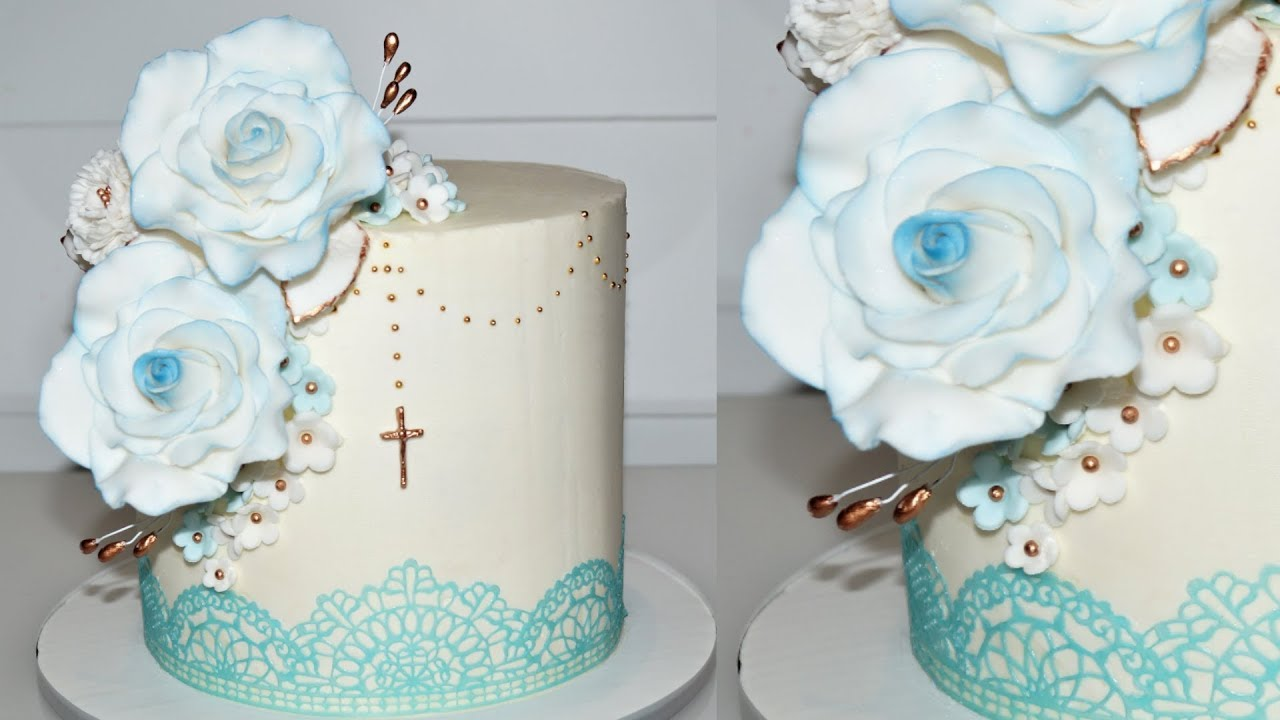 Cake Decorating Tutorials How To Make A Baptism Cake With Edible Lace Sugarella Sweets