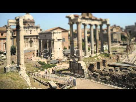 Tilt Shift - Italy Rome Roman Forum - Stock Footage