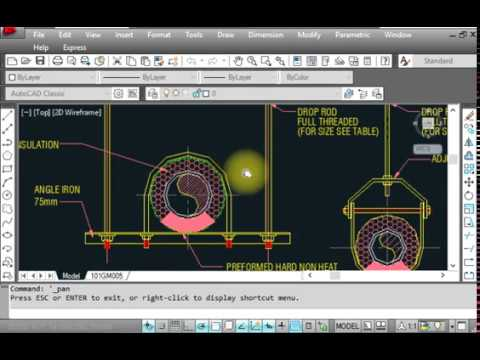 HVAC - Chilled water pipe installation detail with AutoCad Drawing layout