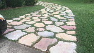 Concrete natural stone driveway