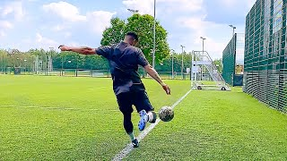 INSANE FOOTBALL TRICKSHOT FROM OFF THE PITCH #Shorts