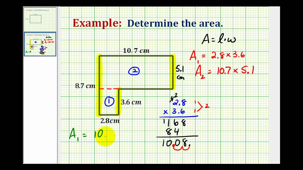 Example: Determine The Area Of An Lshaped Polygon Using Decimals