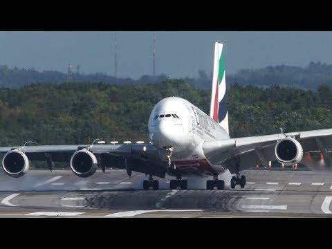 Unbelieveable AIRBUS A380 HARD CROSSWIND LANDING during a STORM at Düsseldorf - 4K