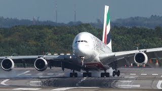 Video Unbelieveable AIRBUS A380 HARD CROSSWIND LANDING during a STORM at Düsseldorf - 4K download MP3, 3GP, MP4, WEBM, AVI, FLV Juli 2018
