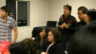 Backstage w Piolo Pascual Angel Locsin Sam Milby watching Manny Pacman 120608