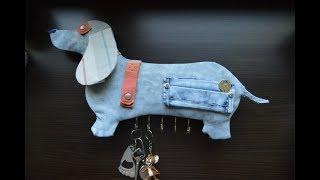 Настенная ключница своими руками: ТАКСА из джинсов