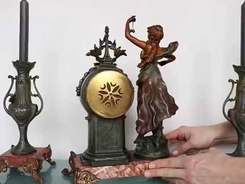 SAMUEL MARTI GEO MAXIM Antique Mantel Clock SCULPTURE! ART NOUVEAU French MARBLE