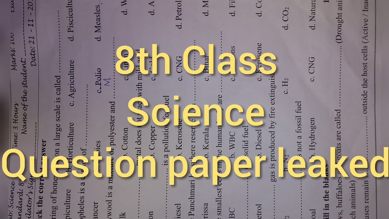 8th Class Science question paper