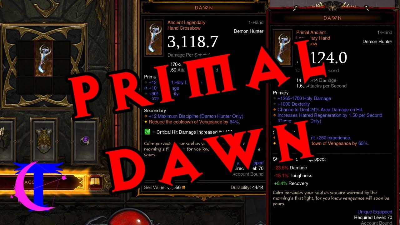 Diablo Iii Season 19 Crafting A Primal Ancient Dawn Youtube