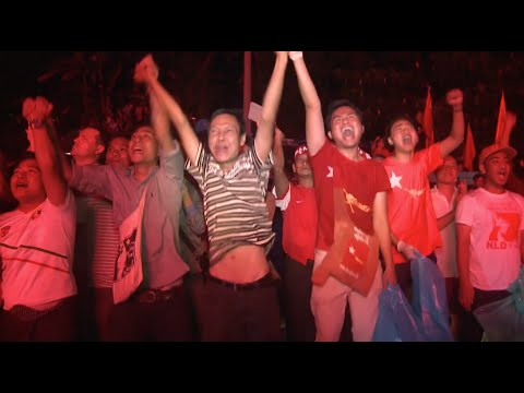 Myanmar Opposition Supporters Celebrate Election Victory