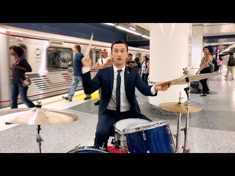 Joseph Gordon-Levitt plays the drums in a subway