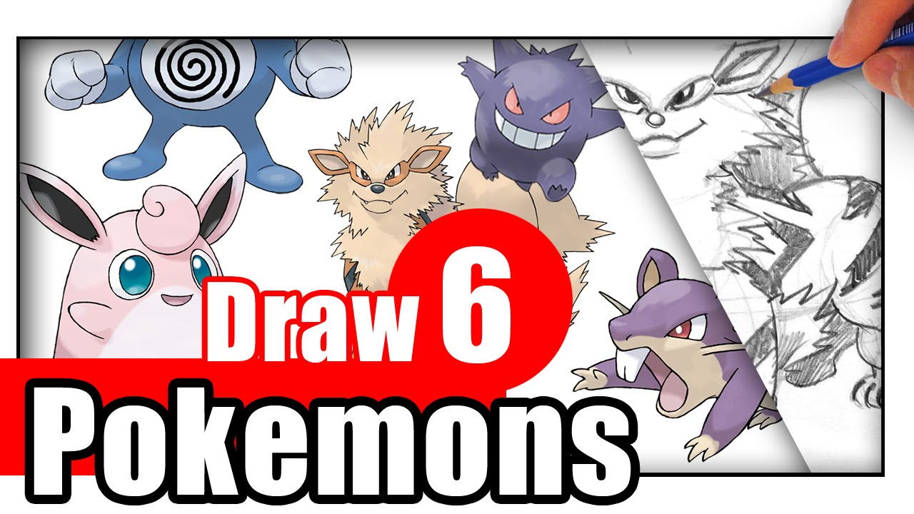 How To Draw Pokemon Characters 6 Different Pokemon Youtube