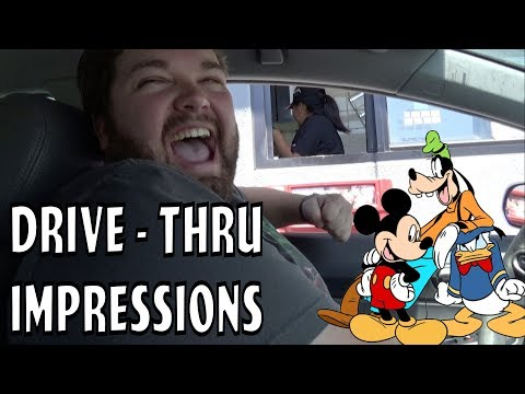 Mickey, Donald, and Goofy at the Drive Thru