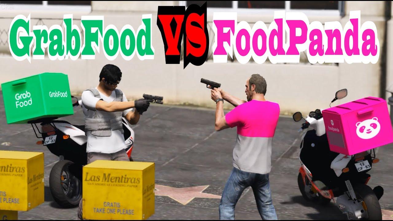 【Officer Ck】GTA5 GRAB FOOD RIDER VS Food Panda | 把FooPanda的車給炸爆!