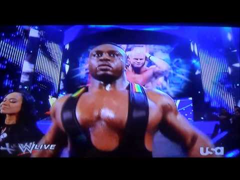 Big E Langston Accidentally Hits AJ Lee in the Throat on Raw 4/8/13