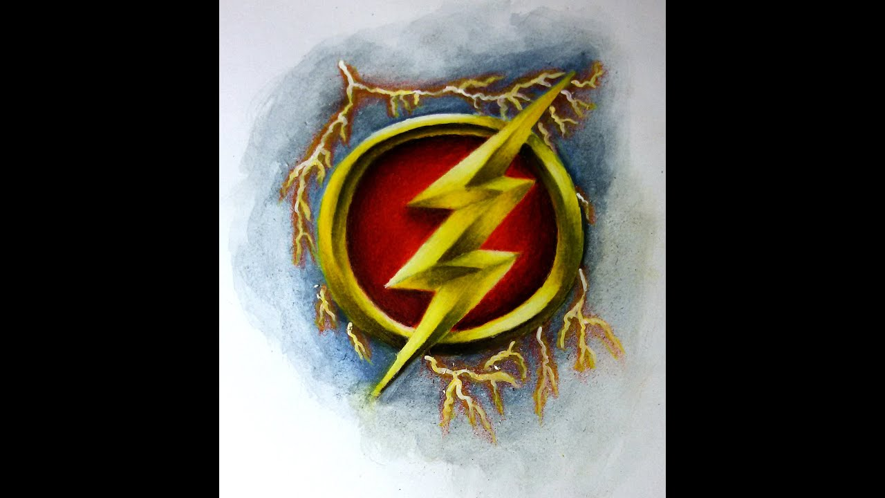Speed Drawing Of The Flash Logo Youtube