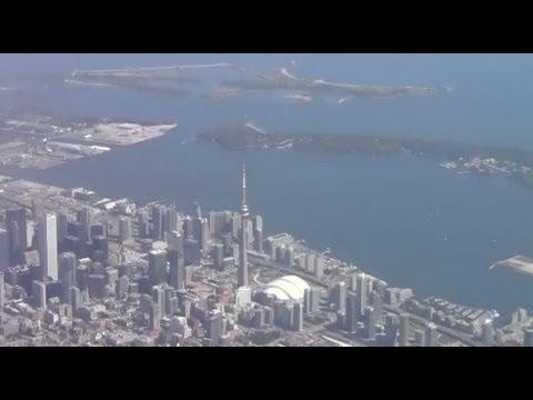 Plane landing at Toronto Pearson International Airport